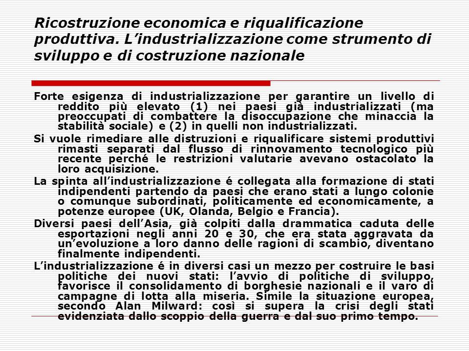 Ricostruzione economica e riqualificazione produttiva. L'industrializzazione come strumento di sviluppo e di costruzione nazionale Forte esigenza di i