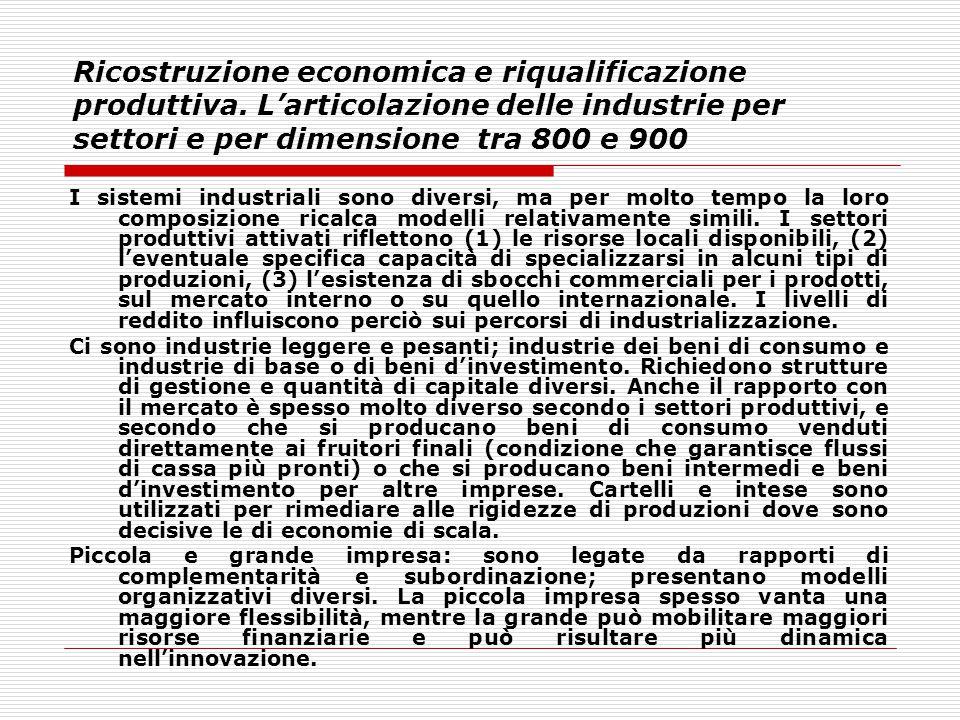 Ricostruzione economica e riqualificazione produttiva. L'articolazione delle industrie per settori e per dimensione tra 800 e 900 I sistemi industrial