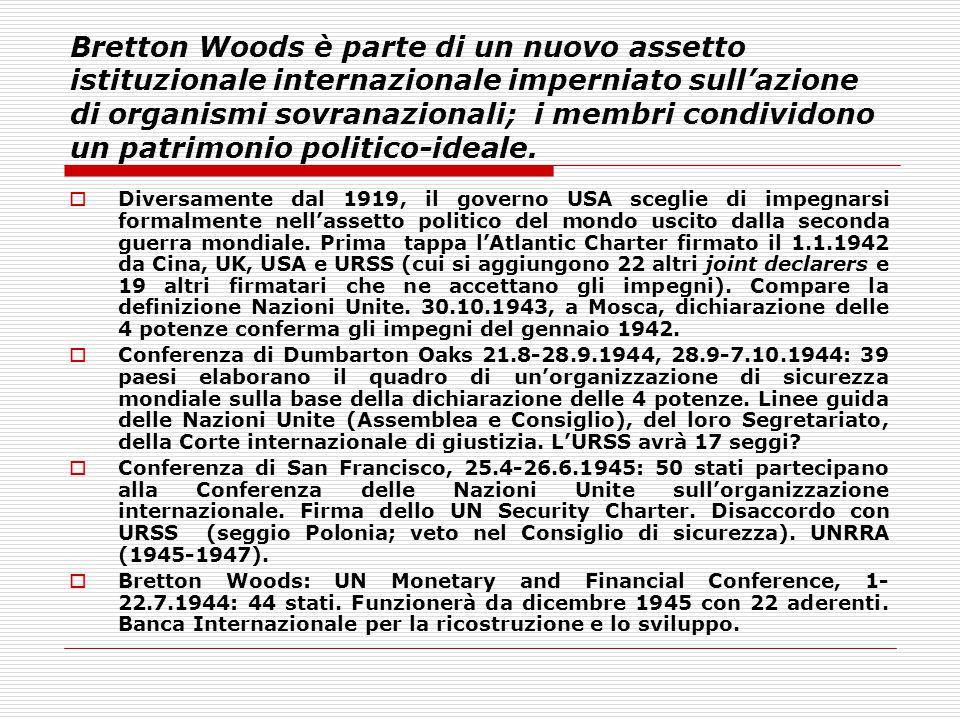 Bretton Woods è parte di un nuovo assetto istituzionale internazionale imperniato sull'azione di organismi sovranazionali; i membri condividono un pat
