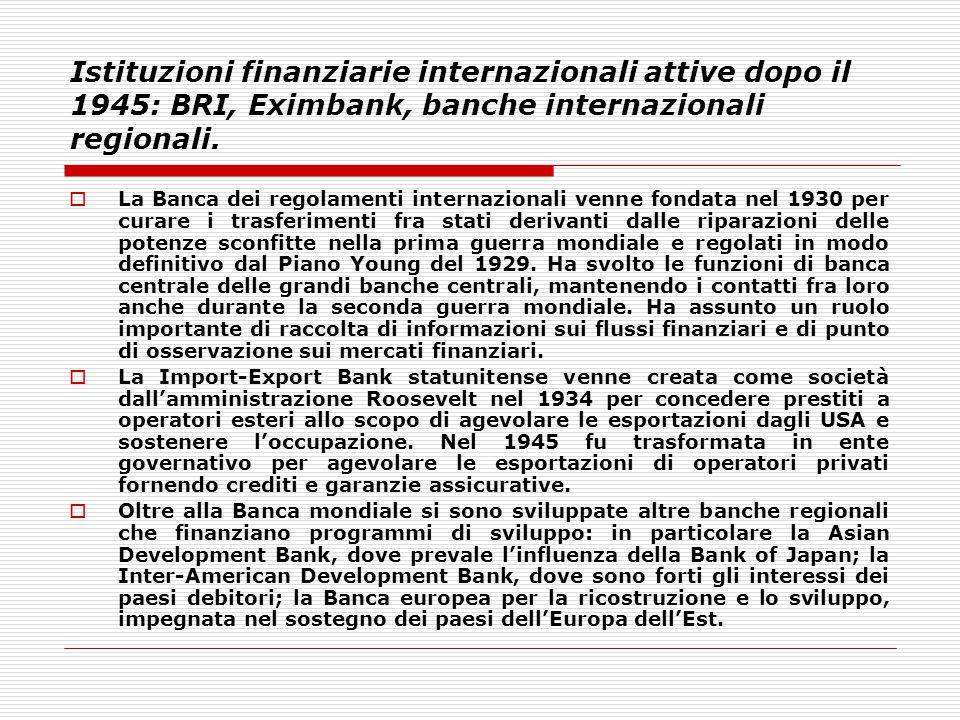 Istituzioni finanziarie internazionali attive dopo il 1945: BRI, Eximbank, banche internazionali regionali.  La Banca dei regolamenti internazionali