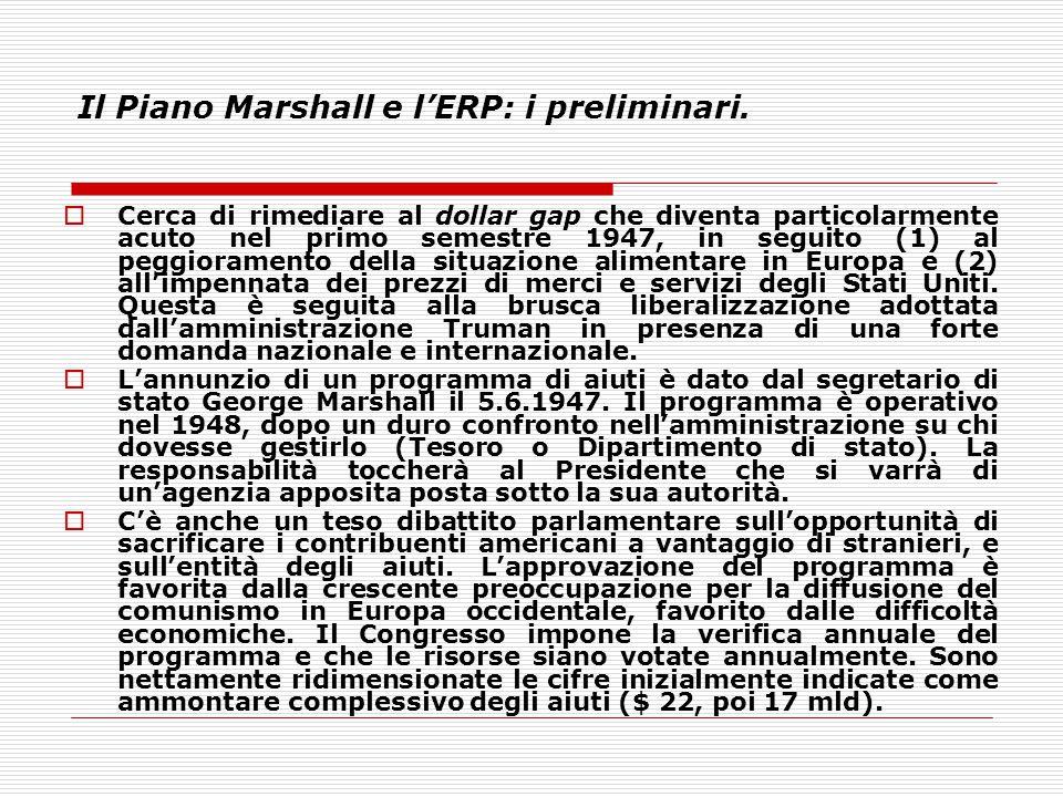 Il Piano Marshall e l'ERP: i preliminari.  Cerca di rimediare al dollar gap che diventa particolarmente acuto nel primo semestre 1947, in seguito (1)