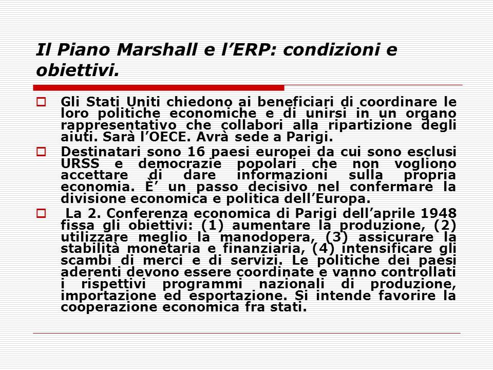 Il Piano Marshall e l'ERP: condizioni e obiettivi.  Gli Stati Uniti chiedono ai beneficiari di coordinare le loro politiche economiche e di unirsi in