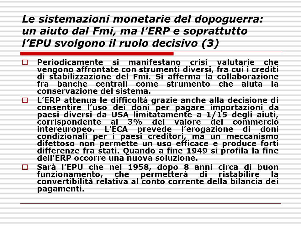 Le sistemazioni monetarie del dopoguerra: un aiuto dal Fmi, ma l'ERP e soprattutto l'EPU svolgono il ruolo decisivo (3)  Periodicamente si manifestan
