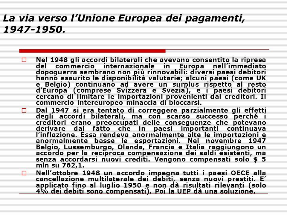 La via verso l'Unione Europea dei pagamenti, 1947-1950.  Nel 1948 gli accordi bilaterali che avevano consentito la ripresa del commercio internaziona