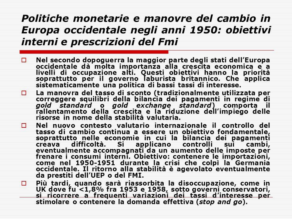 Politiche monetarie e manovre del cambio in Europa occidentale negli anni 1950: obiettivi interni e prescrizioni del Fmi  Nel secondo dopoguerra la m