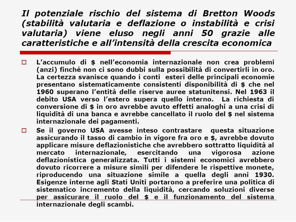 Il potenziale rischio del sistema di Bretton Woods (stabilità valutaria e deflazione o instabilità e crisi valutaria) viene eluso negli anni 50 grazie