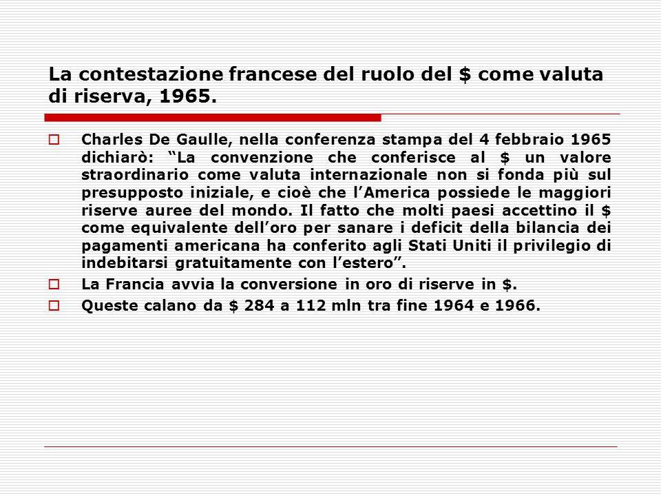 """La contestazione francese del ruolo del $ come valuta di riserva, 1965.  Charles De Gaulle, nella conferenza stampa del 4 febbraio 1965 dichiarò: """"La"""