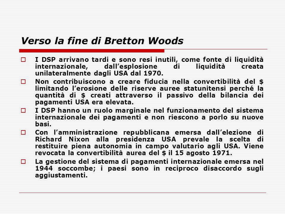Verso la fine di Bretton Woods  I DSP arrivano tardi e sono resi inutili, come fonte di liquidità internazionale, dall'esplosione di liquidità creata