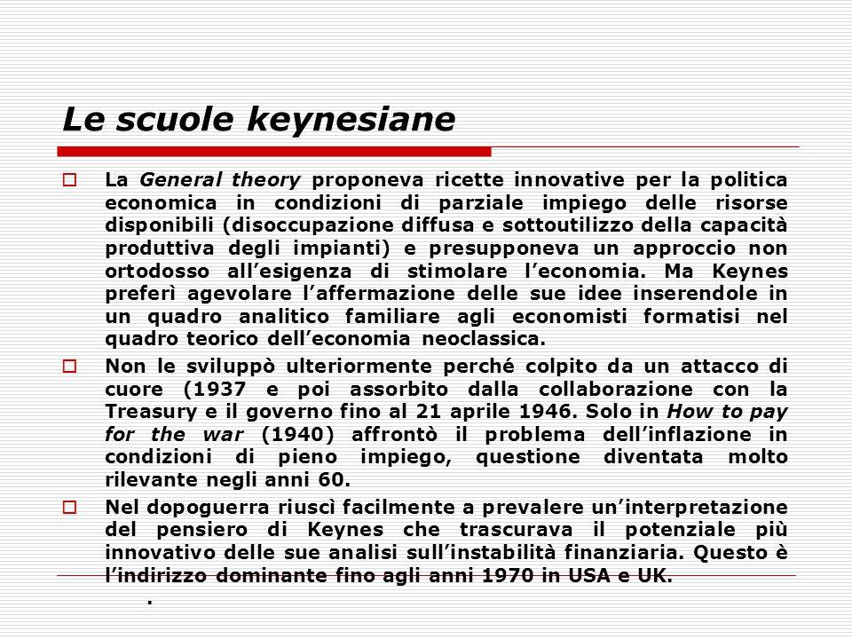 Le scuole keynesiane  La General theory proponeva ricette innovative per la politica economica in condizioni di parziale impiego delle risorse dispon