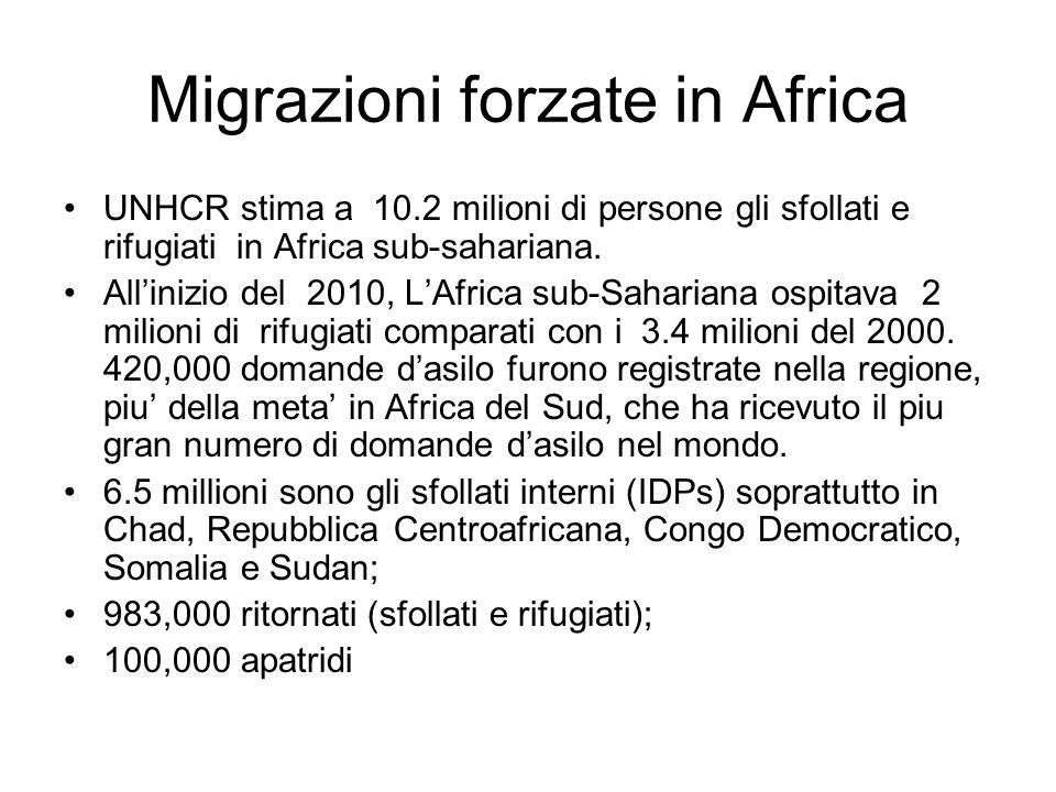Migrazioni forzate in Africa UNHCR stima a 10.2 milioni di persone gli sfollati e rifugiati in Africa sub-sahariana. All'inizio del 2010, L'Africa sub