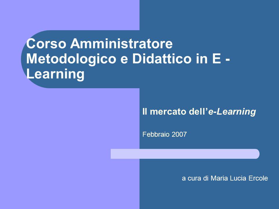 Corso Amministratore Metodologico e Didattico in E - Learning Il mercato dell'e-Learning Febbraio 2007 a cura di Maria Lucia Ercole