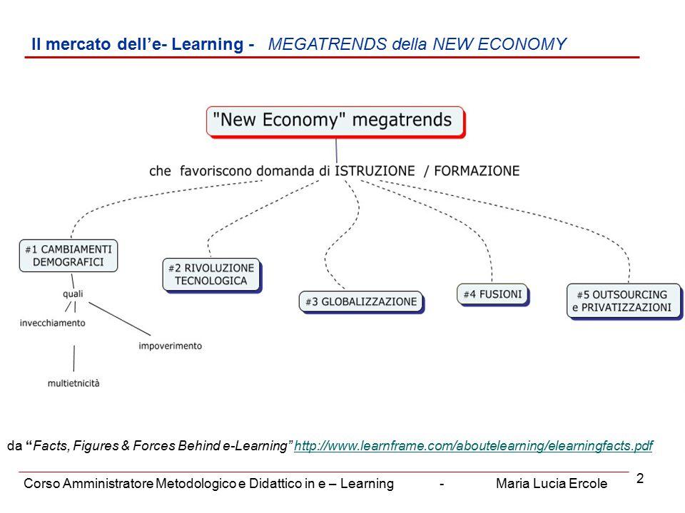 3 Il mercato dell'e- Learning – RUOLO STRATEGICO DELL' e-LEARNING Corso Amministratore Metodologico e Didattico in e – Learning - Maria Lucia Ercole
