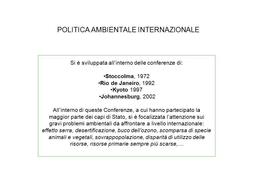 POLITICA AMBIENTALE INTERNAZIONALE Si è sviluppata all'interno delle conferenze di: Stoccolma, 1972 Rio de Janeiro, 1992 Kyoto 1997 Johannesburg, 2002