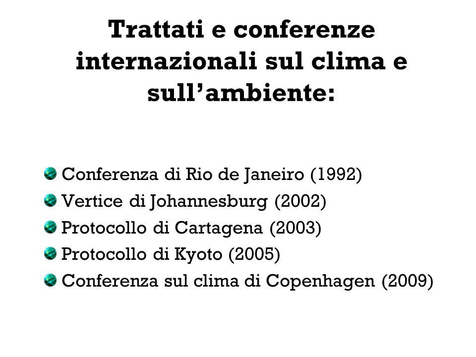 Trattati e conferenze internazionali sul clima e sull'ambiente: Conferenza di Rio de Janeiro (1992) Vertice di Johannesburg (2002) Protocollo di Carta