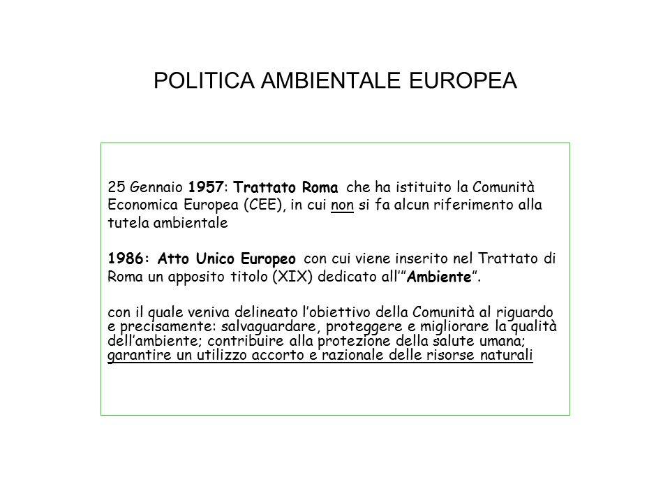 POLITICA AMBIENTALE EUROPEA 25 Gennaio 1957: Trattato Roma che ha istituito la Comunità Economica Europea (CEE), in cui non si fa alcun riferimento al