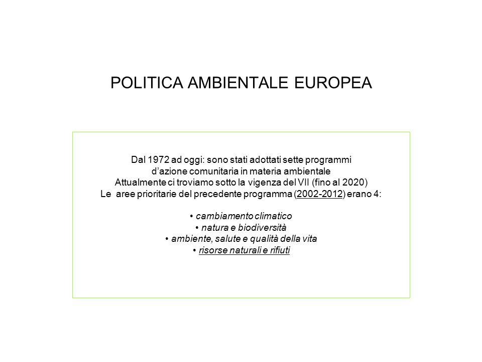 POLITICA AMBIENTALE EUROPEA Dal 1972 ad oggi: sono stati adottati sette programmi d'azione comunitaria in materia ambientale Attualmente ci troviamo s