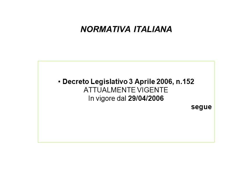 NORMATIVA ITALIANA Decreto Legislativo 3 Aprile 2006, n.152 ATTUALMENTE VIGENTE In vigore dal 29/04/2006 segue