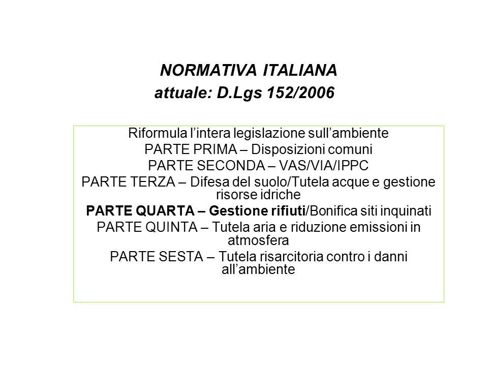 NORMATIVA ITALIANA attuale: D.Lgs 152/2006 Riformula l'intera legislazione sull'ambiente PARTE PRIMA – Disposizioni comuni PARTE SECONDA – VAS/VIA/IPP