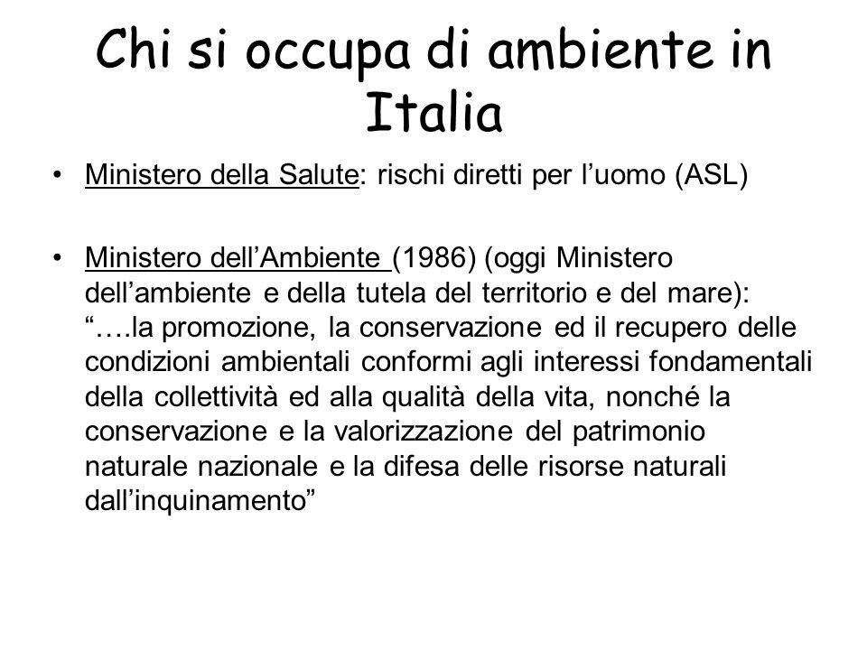 Chi si occupa di ambiente in Italia Ministero della Salute: rischi diretti per l'uomo (ASL) Ministero dell'Ambiente (1986) (oggi Ministero dell'ambien