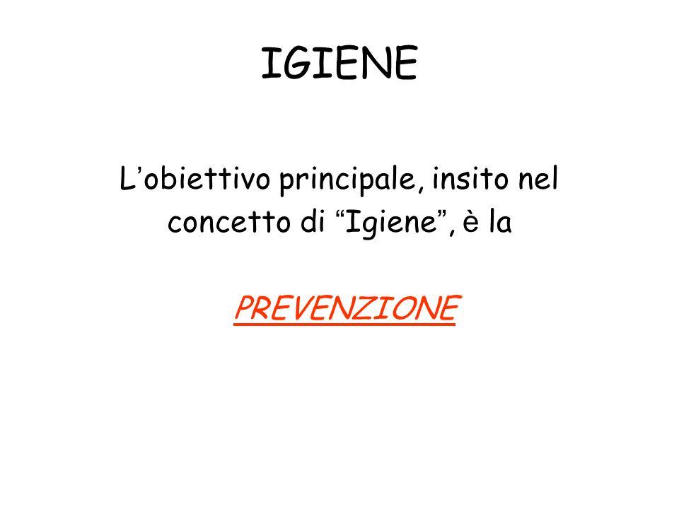 """IGIENE L ' obiettivo principale, insito nel concetto di """" Igiene """", è la PREVENZIONE"""