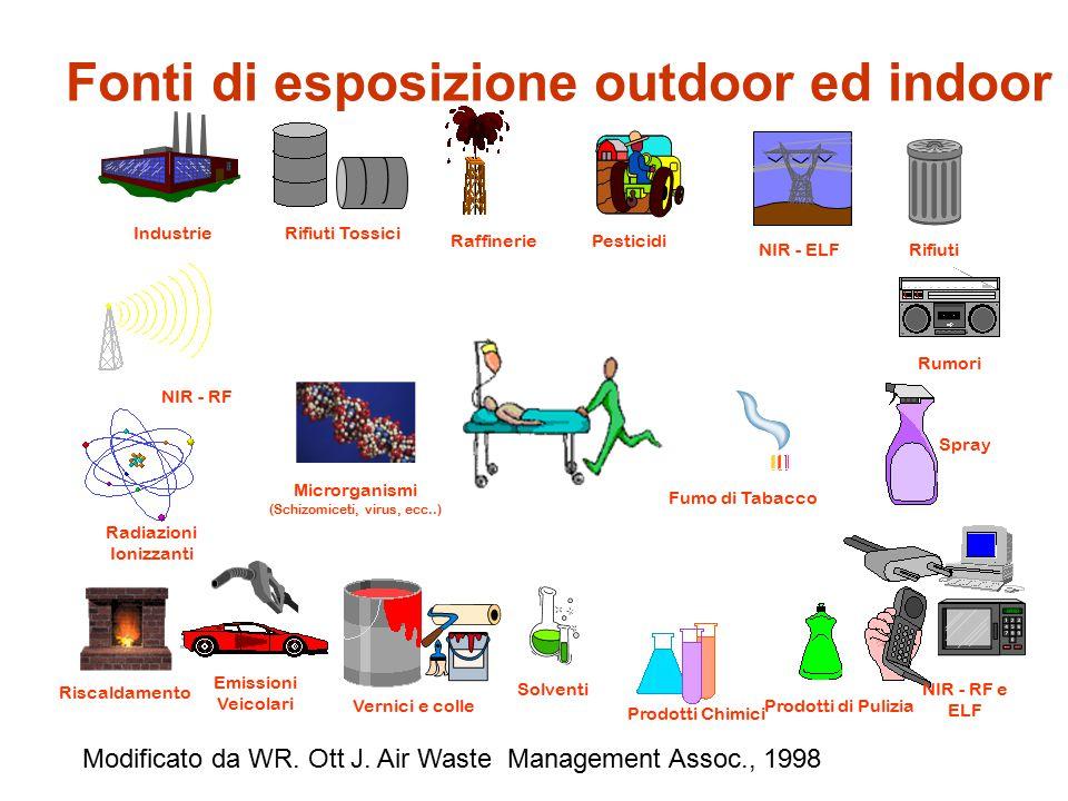 Fonti di esposizione outdoor ed indoor IndustrieRifiuti Tossici Raffinerie NIR - RF Radiazioni Ionizzanti Emissioni Veicolari Pesticidi NIR - ELFRifiu