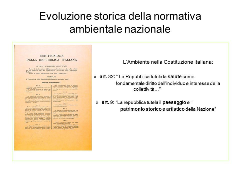 """Evoluzione storica della normativa ambientale nazionale L'Ambiente nella Costituzione italiana: »art. 32: """" La Repubblica tutela la salute come fondam"""