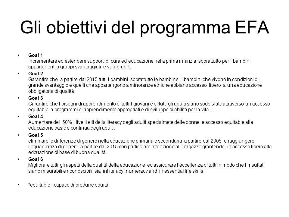 Gli obiettivi del programma EFA Goal 1 Incrementare ed estendere supporti di cura ed educazione nella prima infanzia, soprattutto per I bambini appart