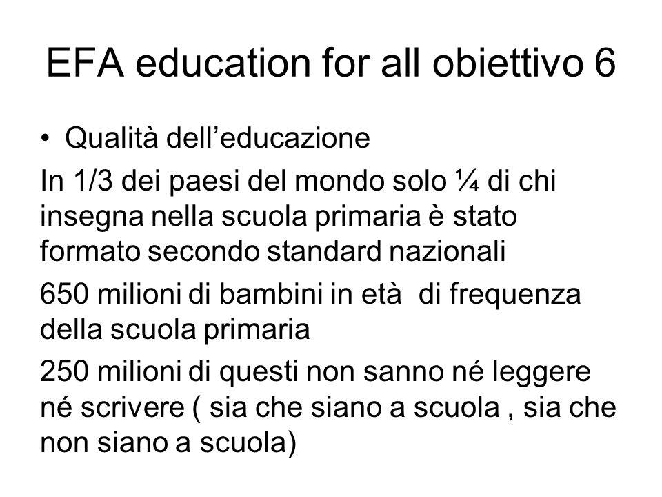 EFA education for all obiettivo 6 Qualità dell'educazione In 1/3 dei paesi del mondo solo ¼ di chi insegna nella scuola primaria è stato formato secon
