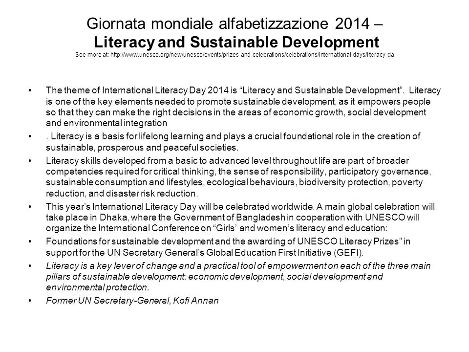 Giornata mondiale alfabetizzazione 2014 – Literacy and Sustainable Development See more at: http://www.unesco.org/new/unesco/events/prizes-and-celebra