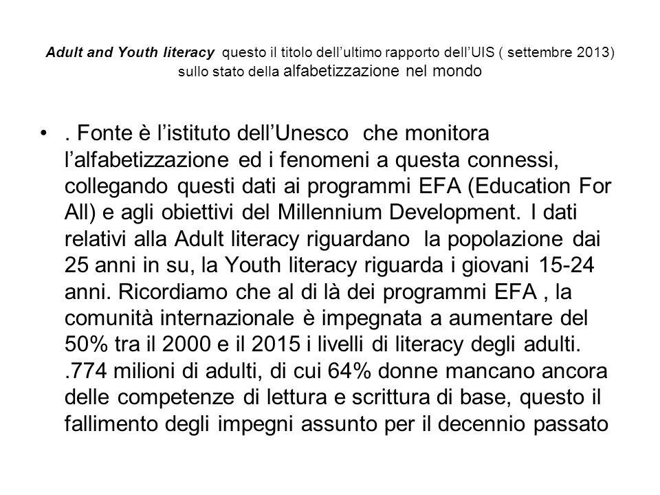 Adult and Youth literacy questo il titolo dell'ultimo rapporto dell'UIS ( settembre 2013) sullo stato della alfabetizzazione nel mondo. Fonte è l'isti