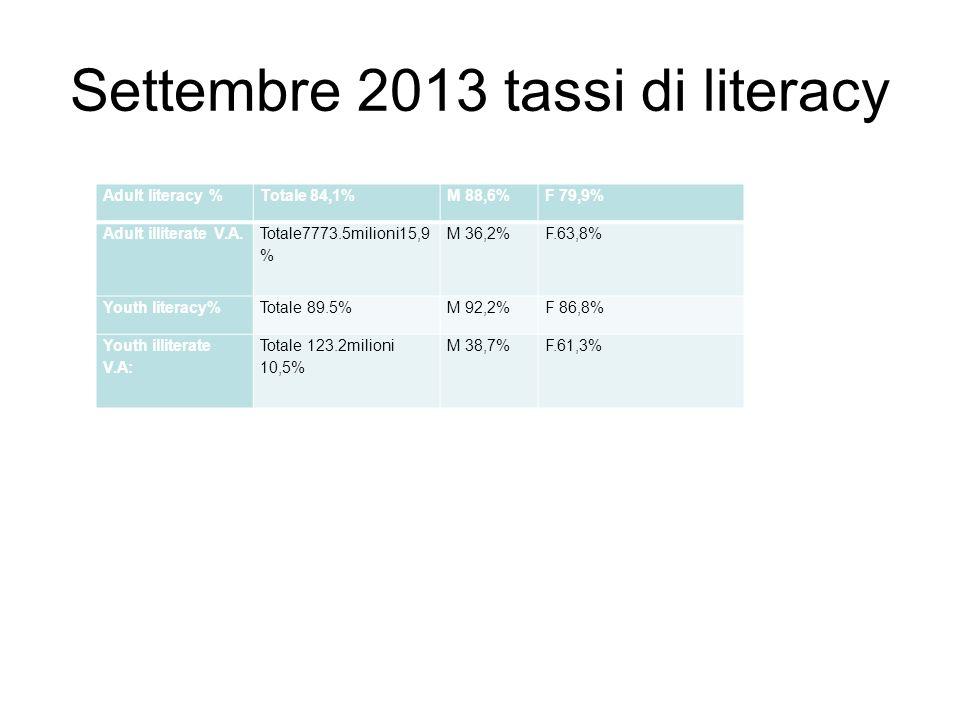 Settembre 2013 tassi di literacy Adult literacy %Totale 84,1%M 88,6%F 79,9% Adult illiterate V.A. Totale7773.5milioni15,9 % M 36,2%F.63,8% Youth liter