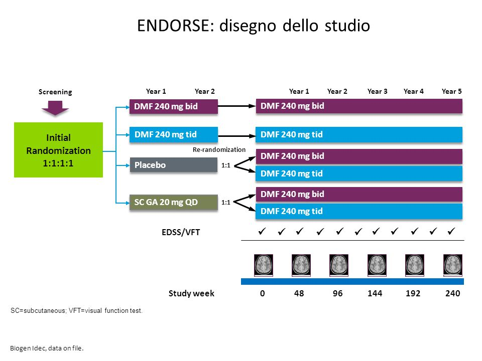 ENDORSE: disegno dello studio SC=subcutaneous; VFT=visual function test. 48240192144096Study week EDSS/VFT Screening Initial Randomization 1:1:1:1 Yea
