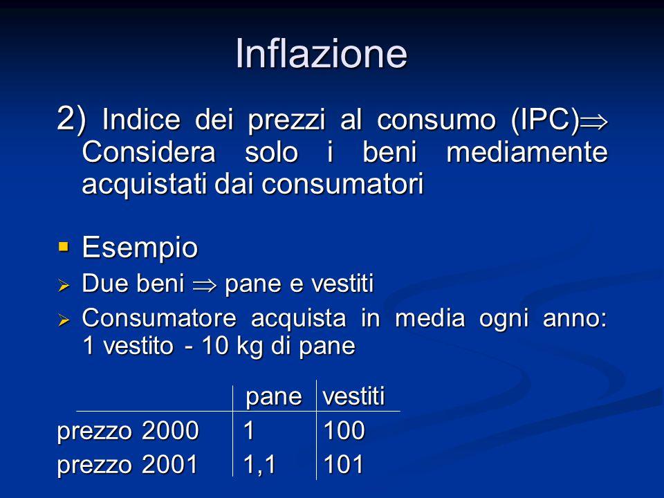 2) Indice dei prezzi al consumo (IPC)  Considera solo i beni mediamente acquistati dai consumatori  Esempio  Due beni  pane e vestiti  Consumator