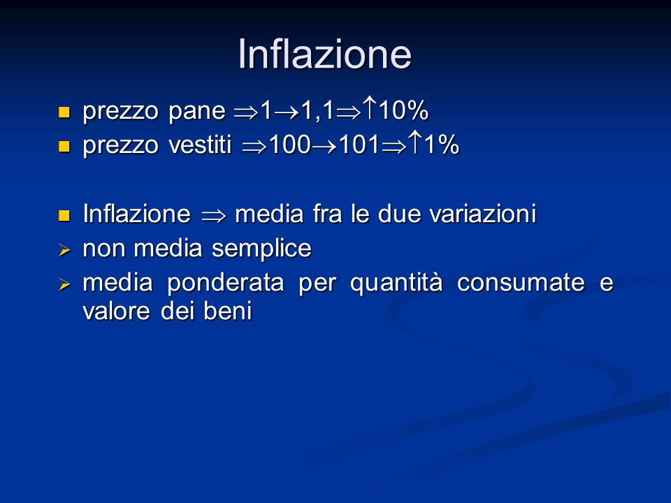 prezzo pane  1  1,1  10% prezzo pane  1  1,1  10% prezzo vestiti  100  101  1% prezzo vestiti  100  101  1% Inflazione  media fra le