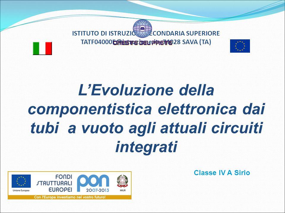 ISTITUTO DI ISTRUZIONE SECONDARIA SUPERIORE TATF04000E@istruzione.it - 74028 SAVA (TA) L'Evoluzione della componentistica elettronica dai tubi a vuoto