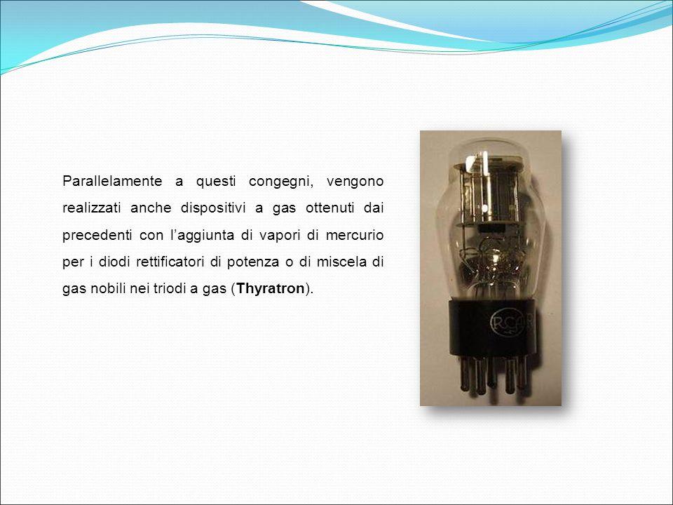 Parallelamente a questi congegni, vengono realizzati anche dispositivi a gas ottenuti dai precedenti con l'aggiunta di vapori di mercurio per i diodi