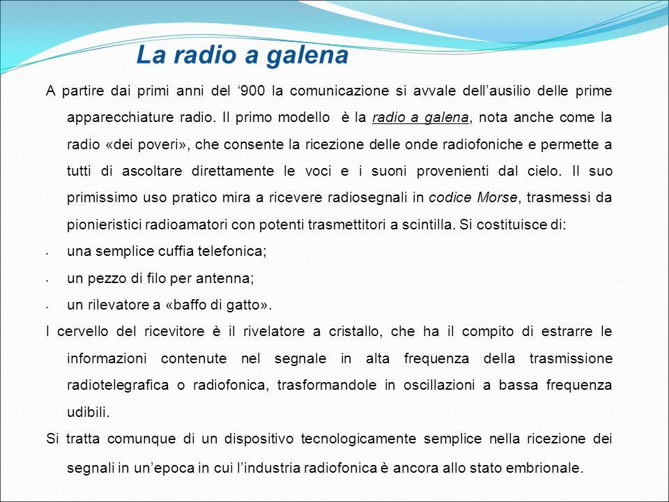 La radio a galena A partire dai primi anni del '900 la comunicazione si avvale dell'ausilio delle prime apparecchiature radio. Il primo modello è la r