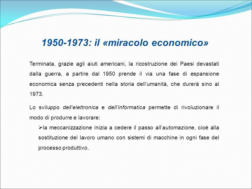 1950-1973: il «miracolo economico» Terminata, grazie agli aiuti americani, la ricostruzione dei Paesi devastati dalla guerra, a partire dal 1950 prend