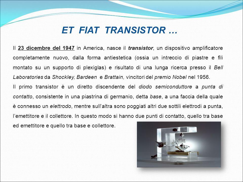 Il 23 dicembre del 1947 in America, nasce il transistor, un dispositivo amplificatore completamente nuovo, dalla forma antiestetica (ossia un intrecci