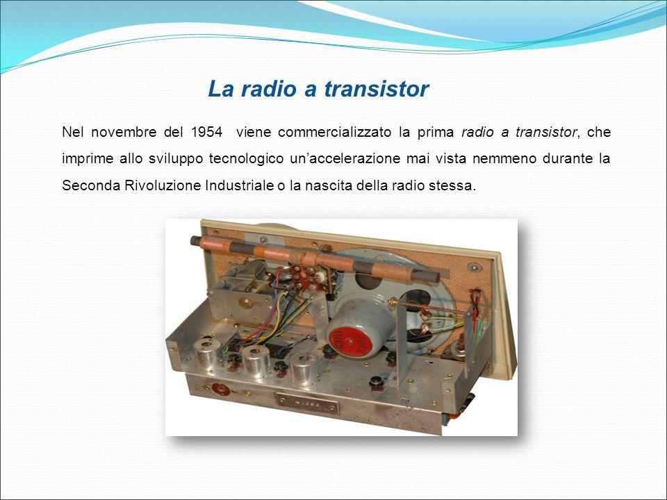 La radio a transistor Nel novembre del 1954 viene commercializzato la prima radio a transistor, che imprime allo sviluppo tecnologico un'accelerazione