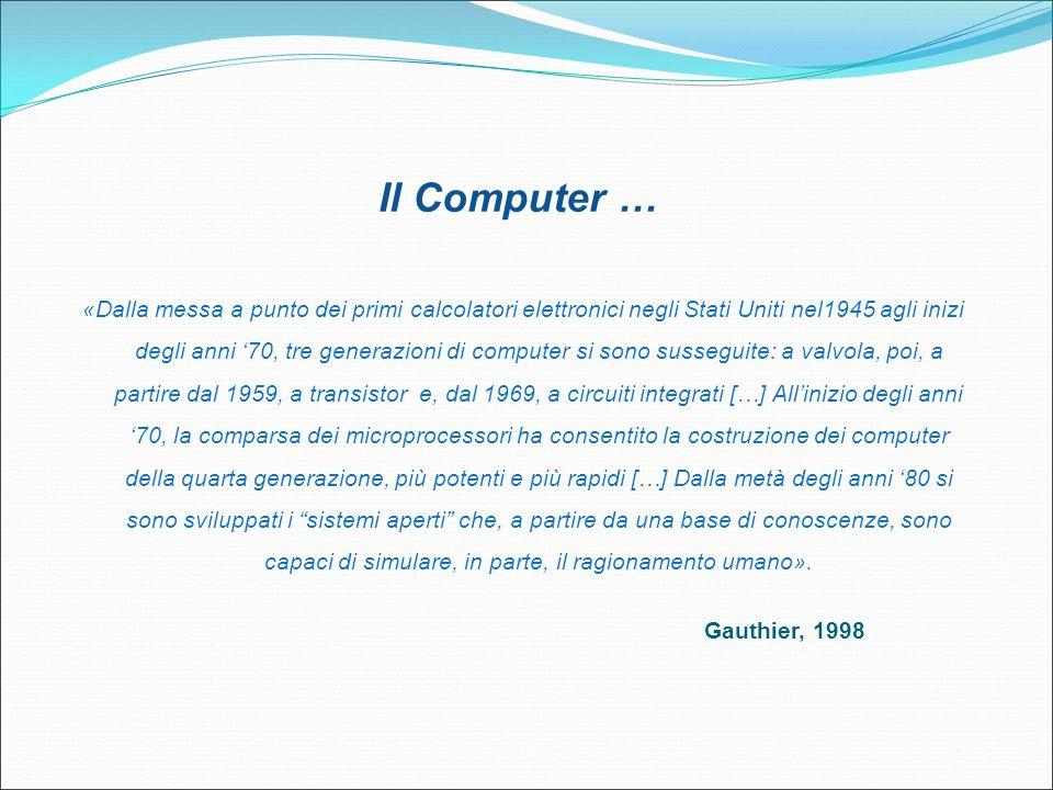 Il Computer … «Dalla messa a punto dei primi calcolatori elettronici negli Stati Uniti nel1945 agli inizi degli anni '70, tre generazioni di computer