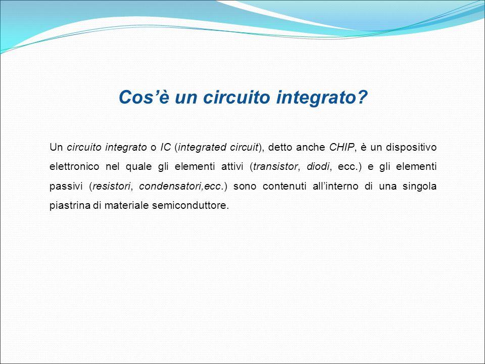 Cos'è un circuito integrato? Un circuito integrato o IC (integrated circuit), detto anche CHIP, è un dispositivo elettronico nel quale gli elementi at