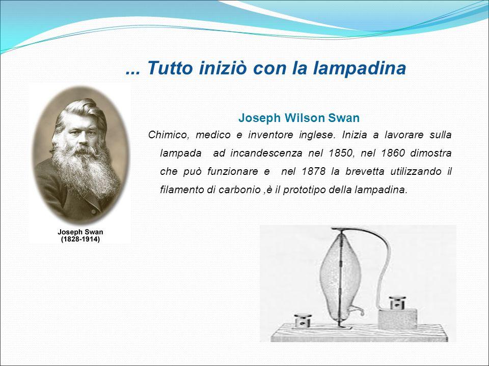 ... Tutto iniziò con la lampadina Joseph Wilson Swan Chimico, medico e inventore inglese. Inizia a lavorare sulla lampada ad incandescenza nel 1850, n