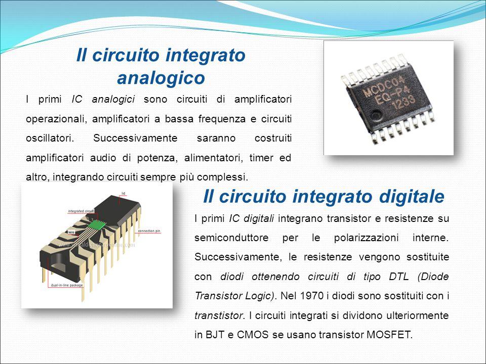 Il circuito integrato analogico I primi IC analogici sono circuiti di amplificatori operazionali, amplificatori a bassa frequenza e circuiti oscillato