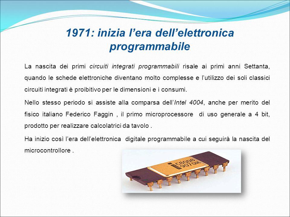 1971: inizia l'era dell'elettronica programmabile La nascita dei primi circuiti integrati programmabili risale ai primi anni Settanta, quando le sched