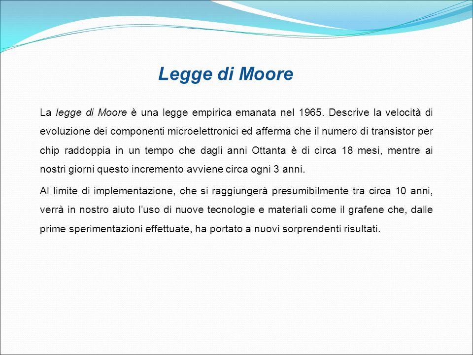 La legge di Moore è una legge empirica emanata nel 1965. Descrive la velocità di evoluzione dei componenti microelettronici ed afferma che il numero d