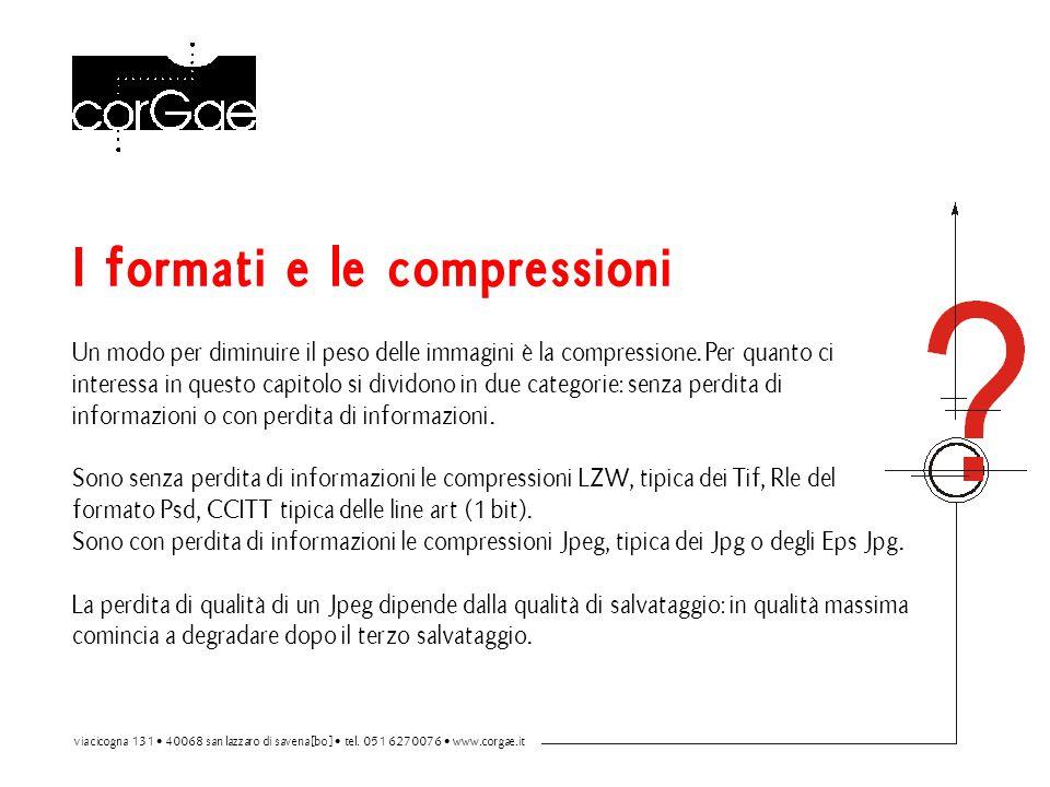 I formati e le compressioni Un modo per diminuire il peso delle immagini è la compressione. Per quanto ci interessa in questo capitolo si dividono in