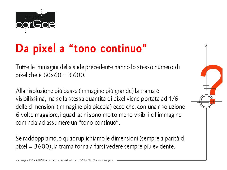 """Da pixel a """"tono continuo"""" Tutte le immagini della slide precedente hanno lo stesso numero di pixel che è 60x60 = 3.600. Alla risoluzione più bassa (i"""