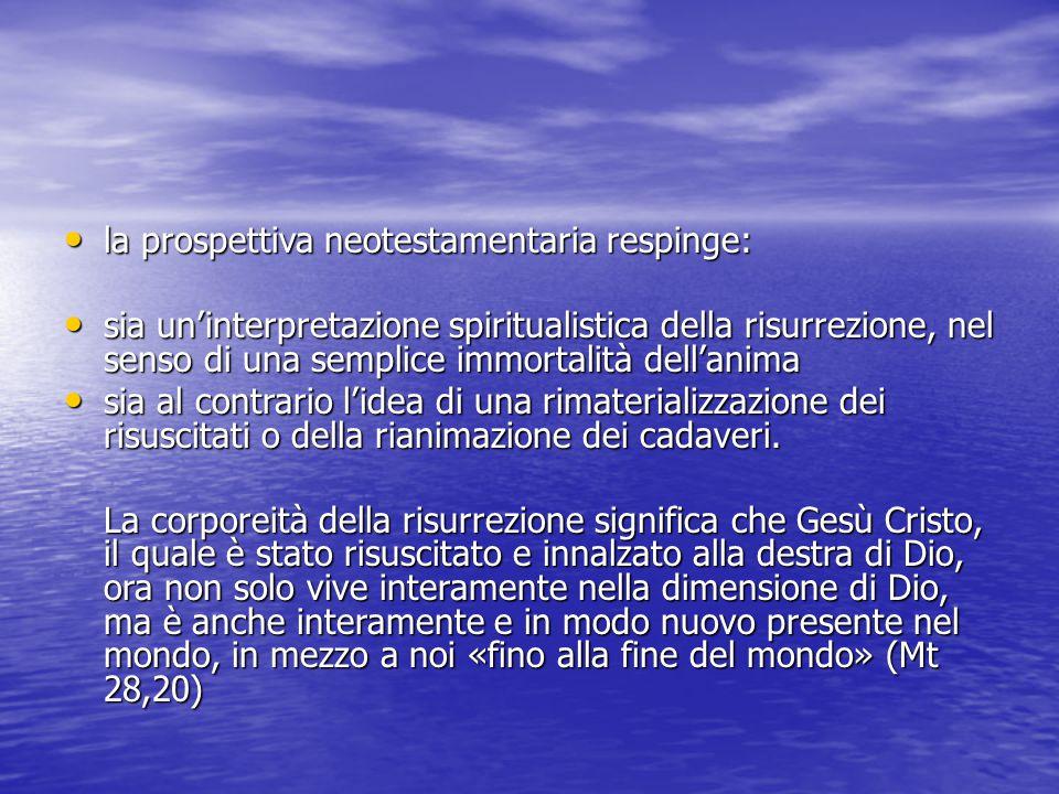 la prospettiva neotestamentaria respinge: la prospettiva neotestamentaria respinge: sia un'interpretazione spiritualistica della risurrezione, nel senso di una semplice immortalità dell'anima sia un'interpretazione spiritualistica della risurrezione, nel senso di una semplice immortalità dell'anima sia al contrario l'idea di una rimaterializzazione dei risuscitati o della rianimazione dei cadaveri.