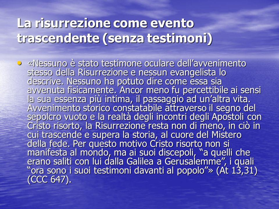 La risurrezione come evento trascendente (senza testimoni) «Nessuno è stato testimone oculare dell'avvenimento stesso della Risurrezione e nessun evangelista lo descrive.